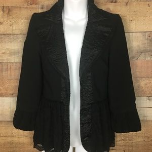BKE Boutique Black Lace Trimmed Blazer